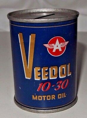 """Vintage Veedol Flying A 10-30 Motor Oil Can 2.75"""" Coin Bank"""