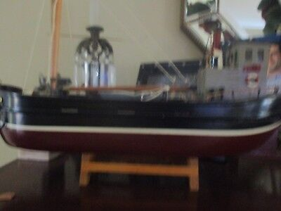 Vintage Miniature Ship Model & Stand