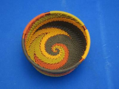 Sm. Round Zulu Telephone Wire Woven Basket Rust Yellow Brown Green Copper Spiral