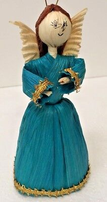 Mexican Folk Art Angel Christmas Ornament Corn Husk Tamale Doll