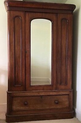 Beautiful Large Antique Victorian Mahogany Wardrobe with Mirror
