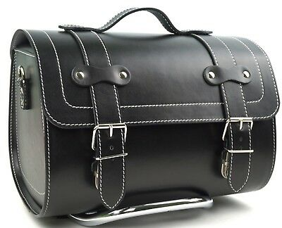 Medium Leather Top Case Roll Bag Vespa Primavera PX LXV GTS GTV Vintage Black