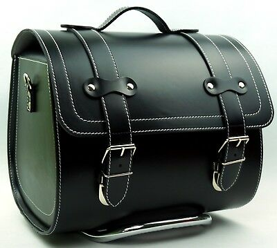 Large Leather Top Case Roll Bag Vespa Primavera PX LXV GTS GTV Vintage Black
