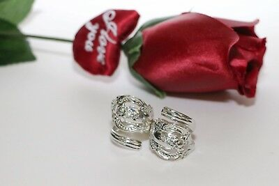 Sterling Silver Plated Vintage Rose Pattern Spoon Rings Set of 2