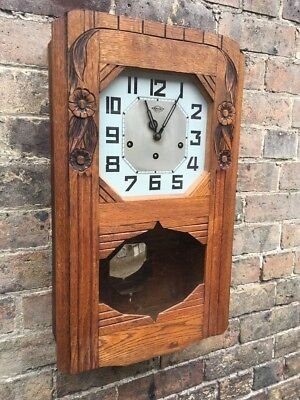 Gorgeous French Vintage Girod Cabinet Wall Clock with Chimes, c 1930's