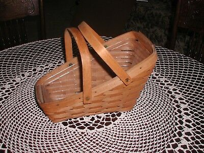 Longaberger 1992 Slanted Vegetable Basket With Swing Handles Plastic Protector