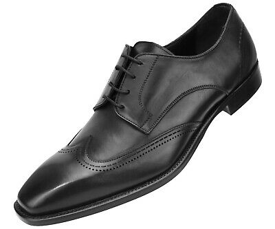 Asher Green Genuine Italian Leather Men's Dress Shoes w/ Classic Wing Tip