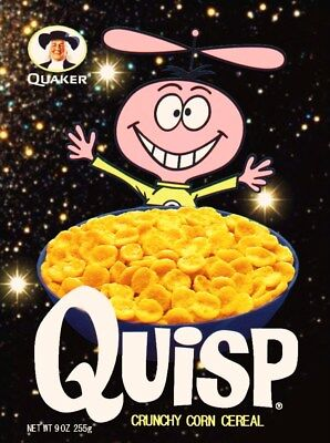 QUISP Space Custom 1970's Cereal Box Stand-Up Display - Quaker Retro Look Gift
