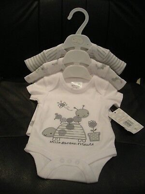 Baby Unisex 3 Pack Bodysuits 0-3 Months 100% Cotton - New With Original Tags