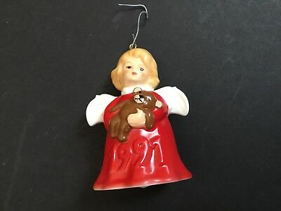 Goebel Red Angel With Bear 1991 Bell Ornament