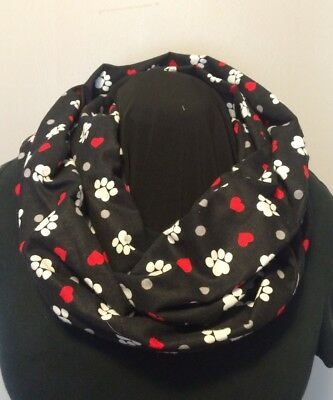 Puppy Dog or Kitty Cat Paws on Black with Hearts Cotton Flannel Infinity Scarf