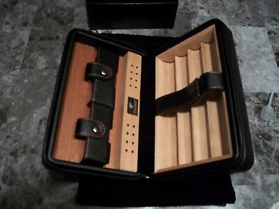 BRAND NEW TRAVEL HUMIDOR CIGAR CASE WITH CUTTER in BLACK LEATHER