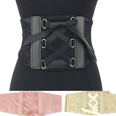 Women WIDE CORSET TIE HIGH WAIST FASHION Lace PU Leather Elastic BELT stretch 6""