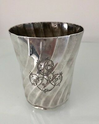 A French Silver Cup Which Has Like A Swirl Effect In The Silver