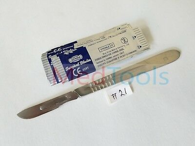 10 Sterile #21 Surgical Blades with FREE #4 Scalpel Knife Handle Medical Dental