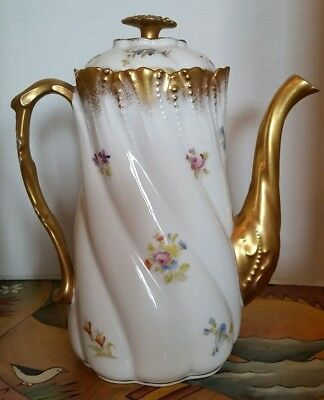 Antique Limoges A. Lanternier Gold Dipped Roses Chocolate Coffee Tea Pot  France