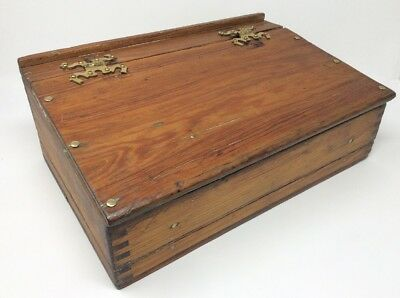 Large Antique Wooden Writing Slope Box H 14 L37 W25 cms
