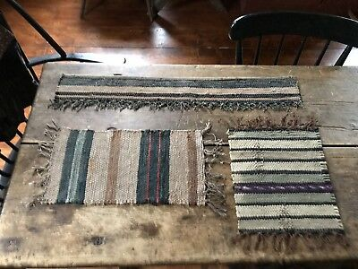 3 Antique Candle Mats Table Rug  Runner Brown & Blue Country AAFA Textile Worn