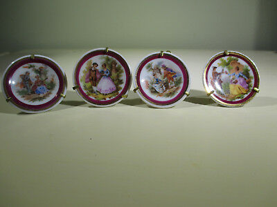 limoge miniature porcelain France plates with stands