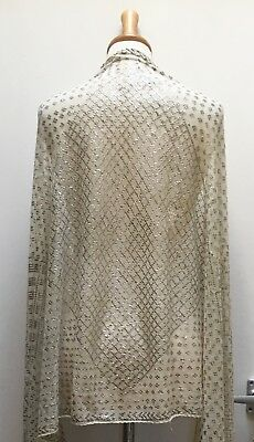 1920'S Vintage White + Silver Egyptian Assuit Shawl. Wider Size. Costume Making?