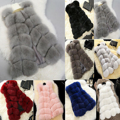Womens Faux Fur Gilet Vest Sleeveless Waistcoat Body Warmer Jacket Coat Outwear