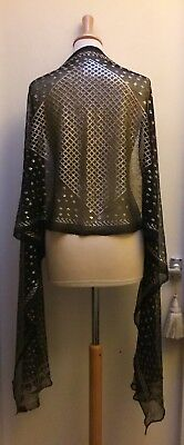 A Lovely Vintage 1920'S Egyptian Assuit Shawl. Black + Silver. Art Deco.