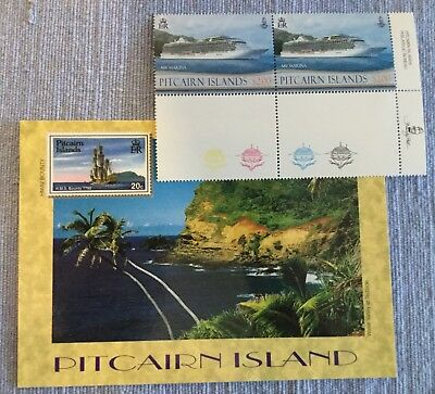 Pitcairn island postcard with 2 x SS Marina cruise ship $2 stamps
