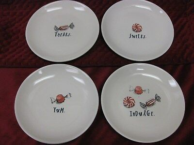 RAE DUNN PEPPERMINT CANDY Appetizer Plates Christmas Holiday SWEET YUM MAGENTA 4