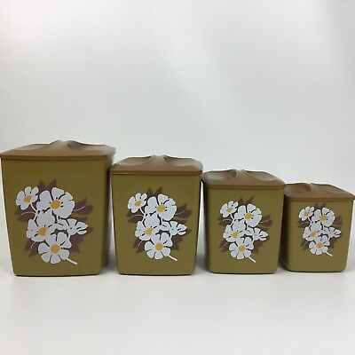 Vintage 4 Piece Canister Set Flour Sugar Coffee Containers Plastic Square