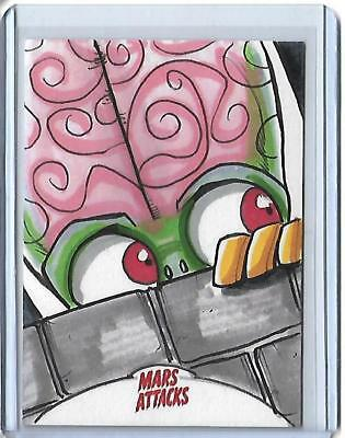 Mars Attacks Invasion 1/1 Colour Sketch Card Michael Locoduck Duron Topps 2012