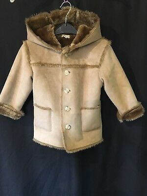 Monsoon brown faux suede faux fur lined coat 3-4 years Very Good Cond