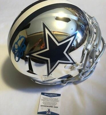 5e678e875 Emmitt Smith Autographed Full Size Dallas Cowboys Chrome Helmet Beckett COA