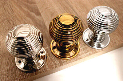 Antique Style Large Period Solid Brass Reeded Beehive Door Knob various finishes