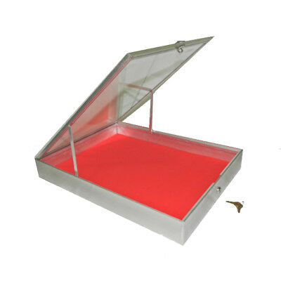"""Aluminum Display Case with Lock and Keys (34x22x3.25"""" - End Opening)"""