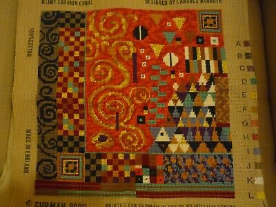 """Ehrman """"Klimt Coral"""" Needlepoint Cushion / Pillow Front (completed from a kit)"""