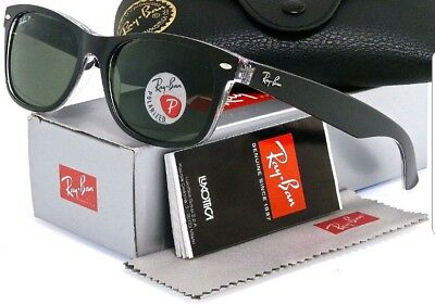b1439cf271c Ray-Ban RB2132 6052 58 New Wayfarer Black Clear Frame Green 55mm Lens