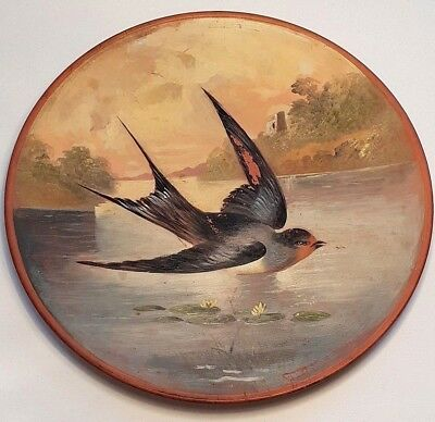 Hand-Painted Watcombe, Victorian Terracotta Plate of a Flying Bird over a Lake
