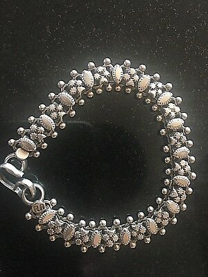 Vintage Rajasthan India Ethnic Tribal Sterling Silver Bracelet