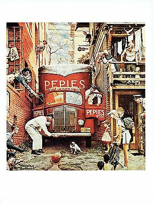 """NORMAN ROCKWELL """"TRAFFIC CONDITIONS"""" Dog in road Color 11.5""""x 15"""" Poster Print"""