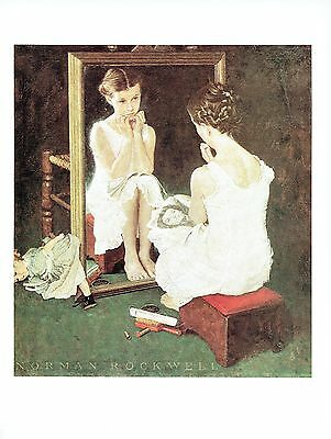 """NORMAN ROCKWELL """"GIRL AT THE MIRROR""""  Color 11.5""""x 15"""" Poster Print"""