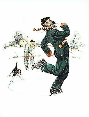 """NORMAN ROCKWELL """"GRANDPA & ME:ICE SKATING"""" Color 11.5""""x 15"""" Poster Print"""