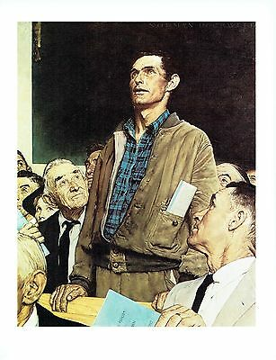 """NORMAN ROCKWELL """"FREEDOM OF SPEECH"""" Town hall Mtg Color 11.5""""x 15"""" Poster Print"""
