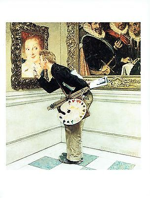"""NORMAN ROCKWELL """"THE CRITIC"""" Man with painting Color 11.5""""x 15"""" Poster Print"""