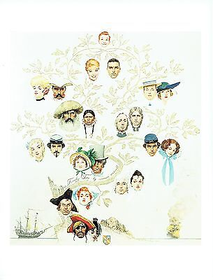 """NORMAN ROCKWELL """"A FAMILY TREE"""" Pirate to boy Color 11.5""""x 15"""" Poster Print"""