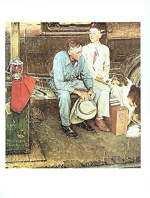 """NORMAN ROCKWELL """"BREAKING HOME TIES"""" Boy leaving Color 11.5""""x 15"""" Poster Print"""