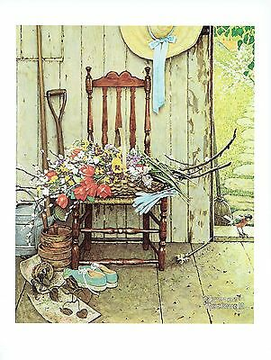 """NORMAN ROCKWELL """"SPRING FLOWERS"""" Flower bouquet Color 11.5""""x 15"""" Poster Print"""
