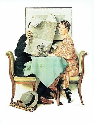 """NORMAN ROCKWELL """"AT THE BREAKFAST TABLE""""  Color 11.5""""x 15"""" Poster Print"""