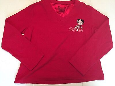 Betty Boop Coca Cola Womens Large Sweater Red