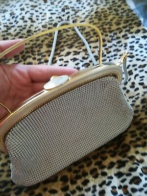 VINTAGE STERLING MESH BAG! Clutch 20s 30s 40s Gold Cream Peaky Gatsby Flapper