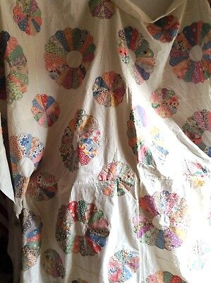 Vintage Unfinished Quilt Top Dresden Plate 1930's Hand Applique Hand Pieced